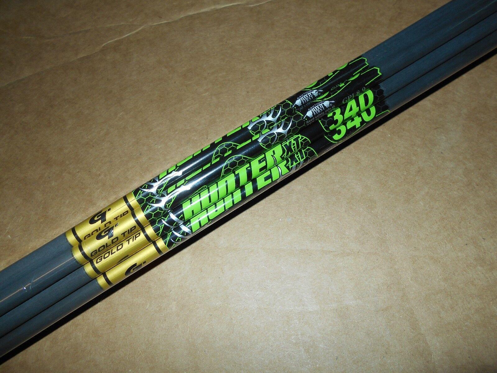 36-gold Tip XT Hunter 7595 340 Carbon Arrow Shafts  CUT TO LENGTH  3 dozen