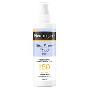 Neutrogena Ultra Sheer Face Mist SPF 50+ Sunscreen Spray 100ml Broad Spectrum