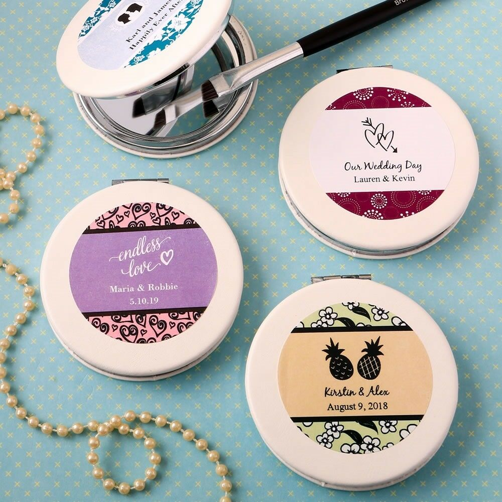 30 Personalized Leatherette Compact Mirror Wedding Bridal Shower Party Favors