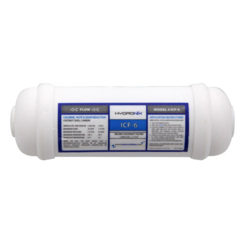 1000 Gallons Hydronix ICF-6 Inline Coconut Carbon Water Filter 1//4 FNPT