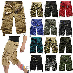 Mens-Cotton-Cargo-Shorts-Combat-Sports-3-4-Length-Pants-Elastic-Waist-Trousers