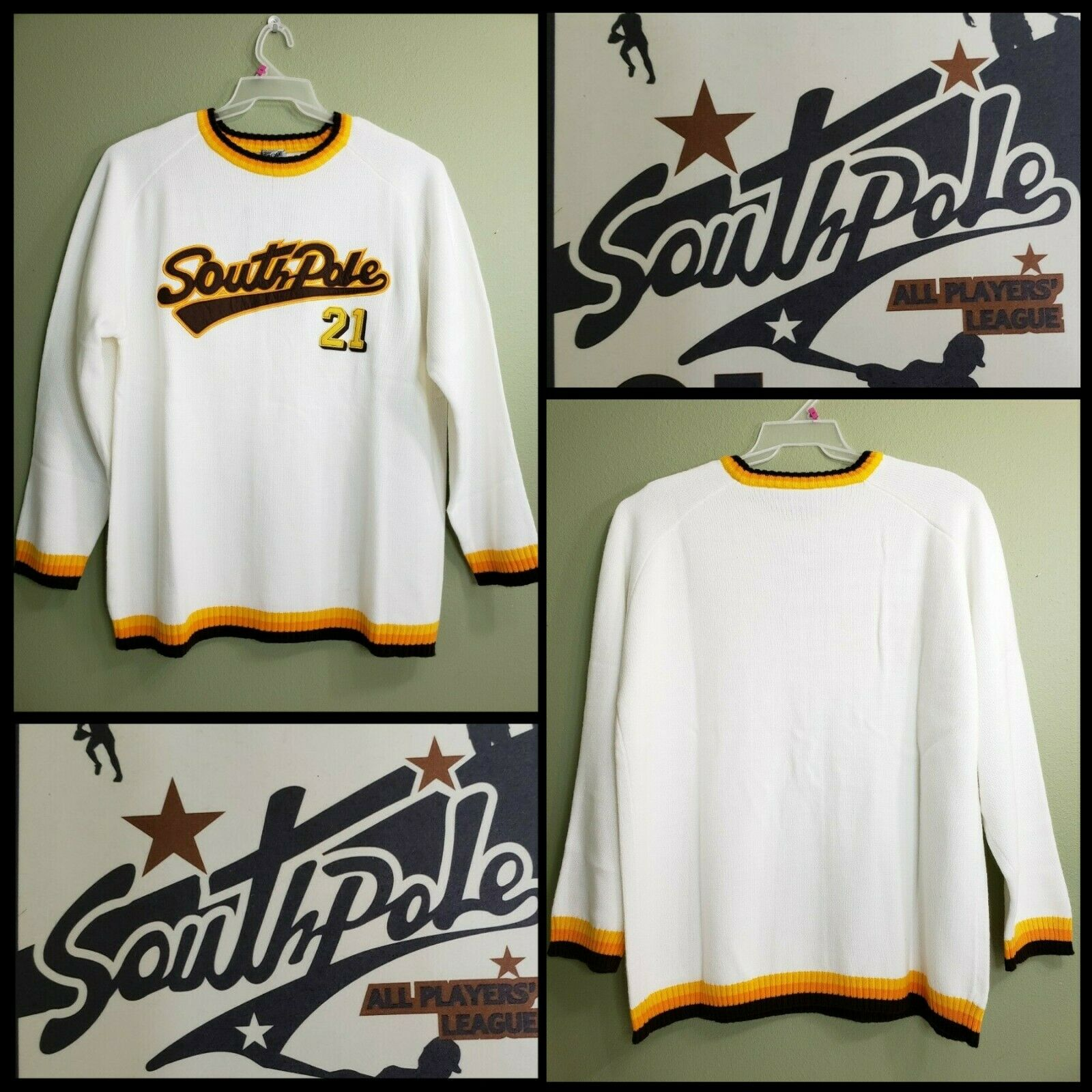 South Pole Men New Casual Pull Over Sweater Size XL White New