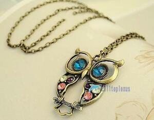 Newest-Vintage-Colorful-Owl-crystals-rhinestone-pendant-Necklace-best-Gift-AN17