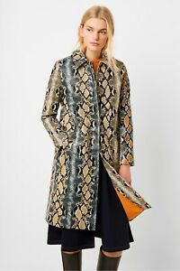 NWT-FRENCH-CONNECTION-ADILA-PU-REPTILE-TRENCH-COAT-MISSES-0