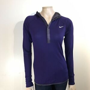 big sale 0c998 c8122 Details about Womens NIKE DRI-FIT Size Small purple Hooded Running Sport  Pullover Wool blend