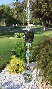 Healing Purple/Green Crystal Suncatcher/Prism W/Crystal Feng Shui Prism Ball USA