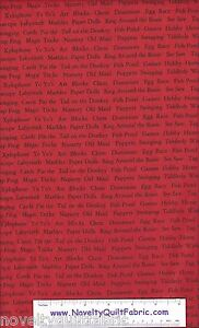 Animal-Alphabet-Name-Red-Games-Checker-Cotton-Novelty-Quilt-Quilting-Fabric-BTY