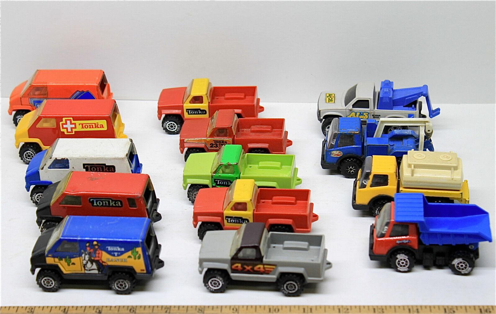 14 PC Vintage Tonka Pastillas De Acero Acero Acero Prensado Vans destructores petrolero Lote de volcado de rescate b2a8ec