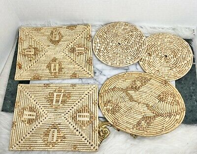Two Floral Motif Bohemian Boho Trivets or Potholders Vintage Round Woven Straw Raffia Hot-pads
