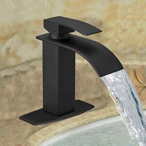 "8"" Widespread Bathroom Basin Faucet Waterfall 3Holes Sink Mixer Tap Matte Black"