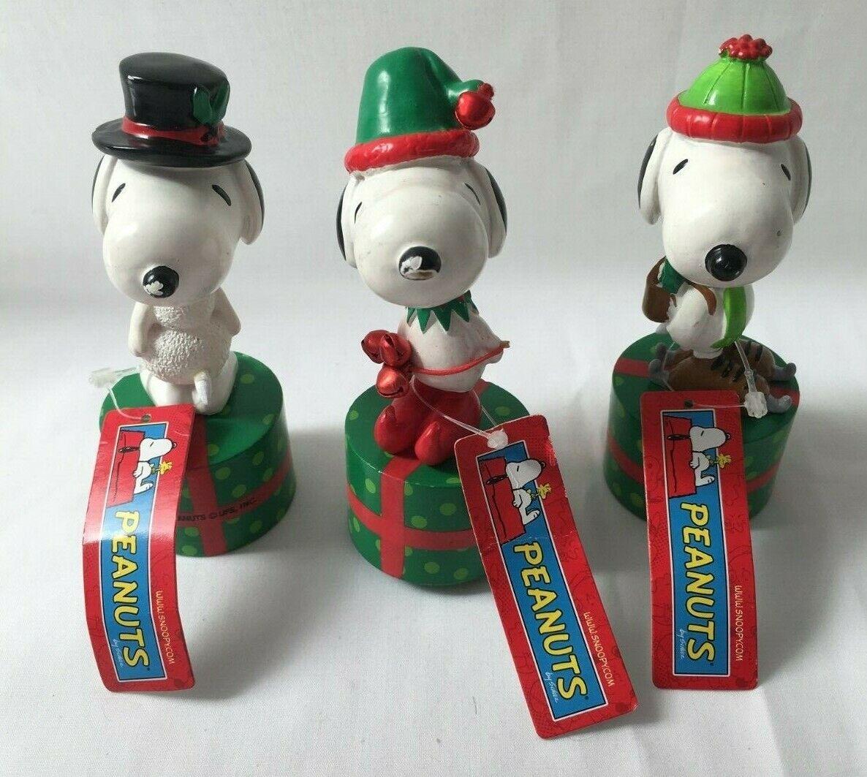 Rare Lot of 3 Peanuts Snoopy Push Up Press Base Juguete Push Puppets Wood Christmas