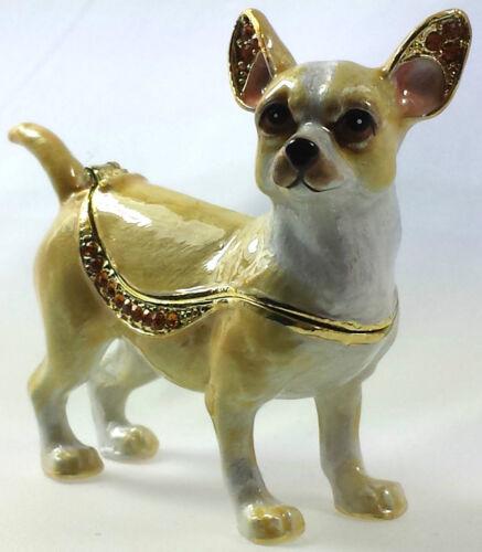 Chihuahua Hund Geschenk Deko Box Figur Sammlerstück Schmuck Schatulle Pillendose