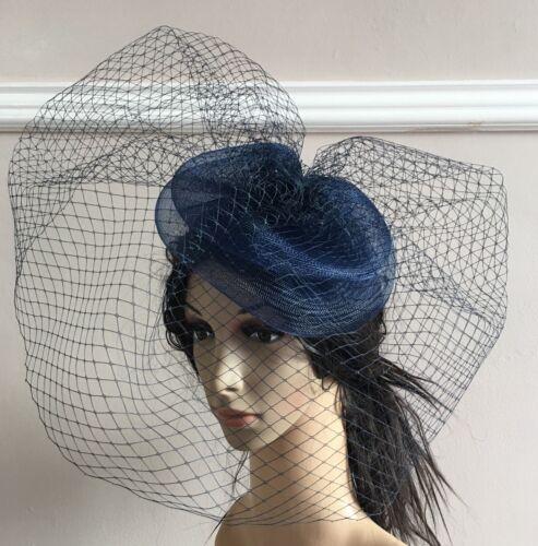 navy blue french veil veiling fascinator wedding bridal hair clip hat race ascot