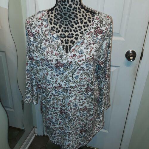 J. Jill Ivory Floral Tunic Knit Top sz L L@@k!