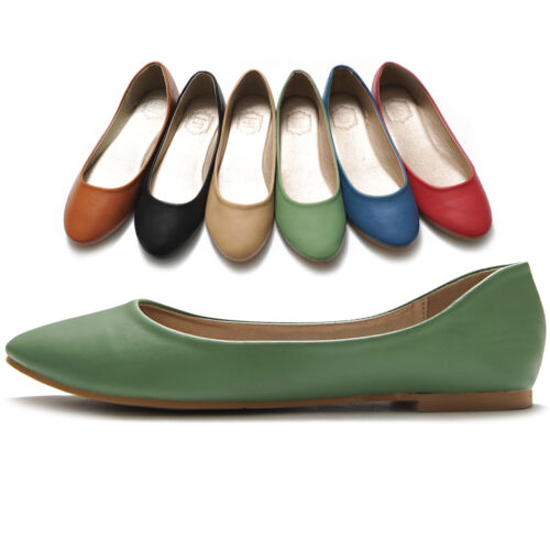 ollio Womens Ballet Ballerina Shoes Casual Slip On Faux Leather Flat