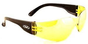Yellow-tinted-uv400-motorcycle-sunglasses-low-biker-case-clear-free