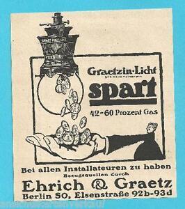 K10.510 Berlin SO, Ehrich & Graetz, Graetzin-Licht, Reklame v. 1911 - Marburg, Deutschland - K10.510 Berlin SO, Ehrich & Graetz, Graetzin-Licht, Reklame v. 1911 - Marburg, Deutschland