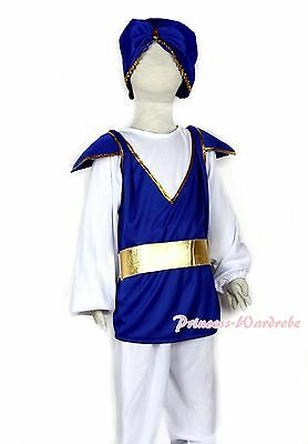 Aladdin Turban Prince Outfit Boy Kids Child HALLOWEEN Party Costume 4p Set 3-11Y