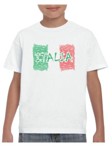 Italian Boys Girls Pride /& Glory Kids Shabby Italia T Shirt Italy Flag