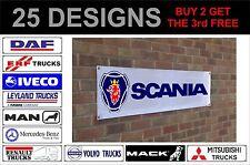 mack renault scania volvo banner sign workshop garage track advertisement