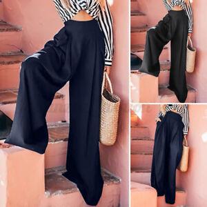 Oversize-Femme-Couleur-Unie-Jambe-Large-Avec-Fermeture-eclair-Pantalon-Long-Plus