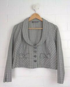 BROWN-SUGAR-Grey-Checked-Cropped-Circle-Neckline-Jacket-3-4-Sleeves-Size-12