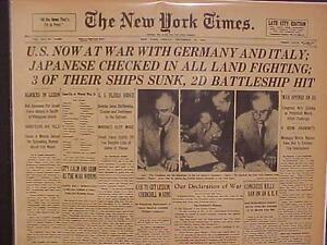 VINTAGE-NEWSPAPER-HEADLINE-USA-DECLARATION-WORLD-WAR-2-ON-JAPAN-amp-GERMANY-WWII