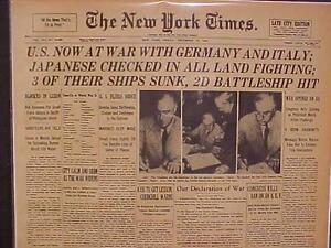 Vintage-Giornali-Titolo-USA-Declaration-Guerra-Mondiale-2-su-Giappone-amp