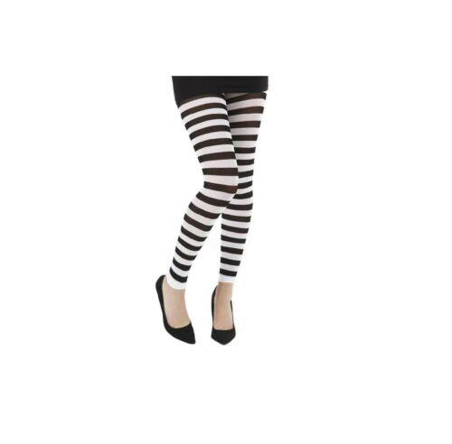 Striped Opaque Footless Tights Luxurious Soft Smooth Wide Stripe Tight Pantyhose