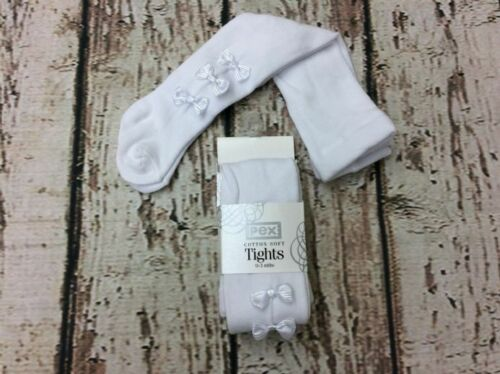 Pex Spanish Baby Girl White Kendall Tights with Cute Triple Bow Detail