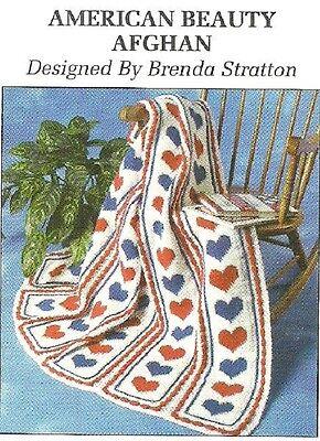 *American Beauty Heart Afghan crochet PATTERN INSTRUCTIONS