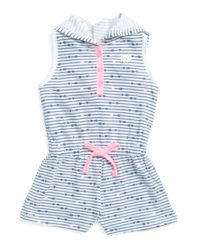 Marika Girls Size 4T Hooded Active Romper White w//Blue /& Pink Hearts MSRP $30.00
