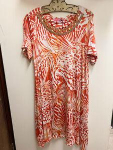 Robe stretch corail soirée col orange Nouveau et de doux taille femme S pour avec rond stretch fyYbv76Ig