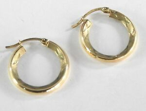 f2992497d396f Vintage Earrings Round Hoop Solid 10k Yellow Gold Womens Jewelry ...