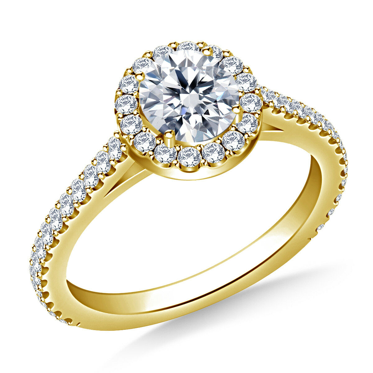 0.98 Ct Round Cut Solitaire Diamond Engagement Ring 14K Solid Yellow gold Rings