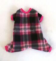 Xs Pink And Black Plaid Fleece Dog Pajamas Clothes No Velcro Style Pc Dog®