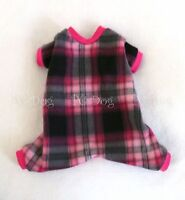 M Pink And Black Plaid Fleece Dog Pajamas Clothes No Velcro Style Medium Pc Dog®