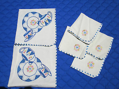 Tablecloth Napkins Embroidered Teapot Cup Plate Hand Sewn White Cotton Set of 5