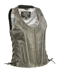 Womens-Distressed-Gray-Leather-Motorcycle-Vest-Open-Neck-Low-Cut-Side-Lace