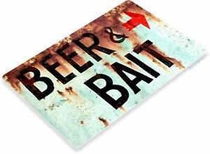 Beer-amp-Bait-Fishing-Bait-Retro-Box-Tackle-Fish-Rustic-Metal-Decor-Sign