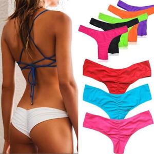 2ca10a1829 Image is loading Women-Cheeky-Ruffle-Swimwear-Scrunch-Brazilian-Summer- Bikini-