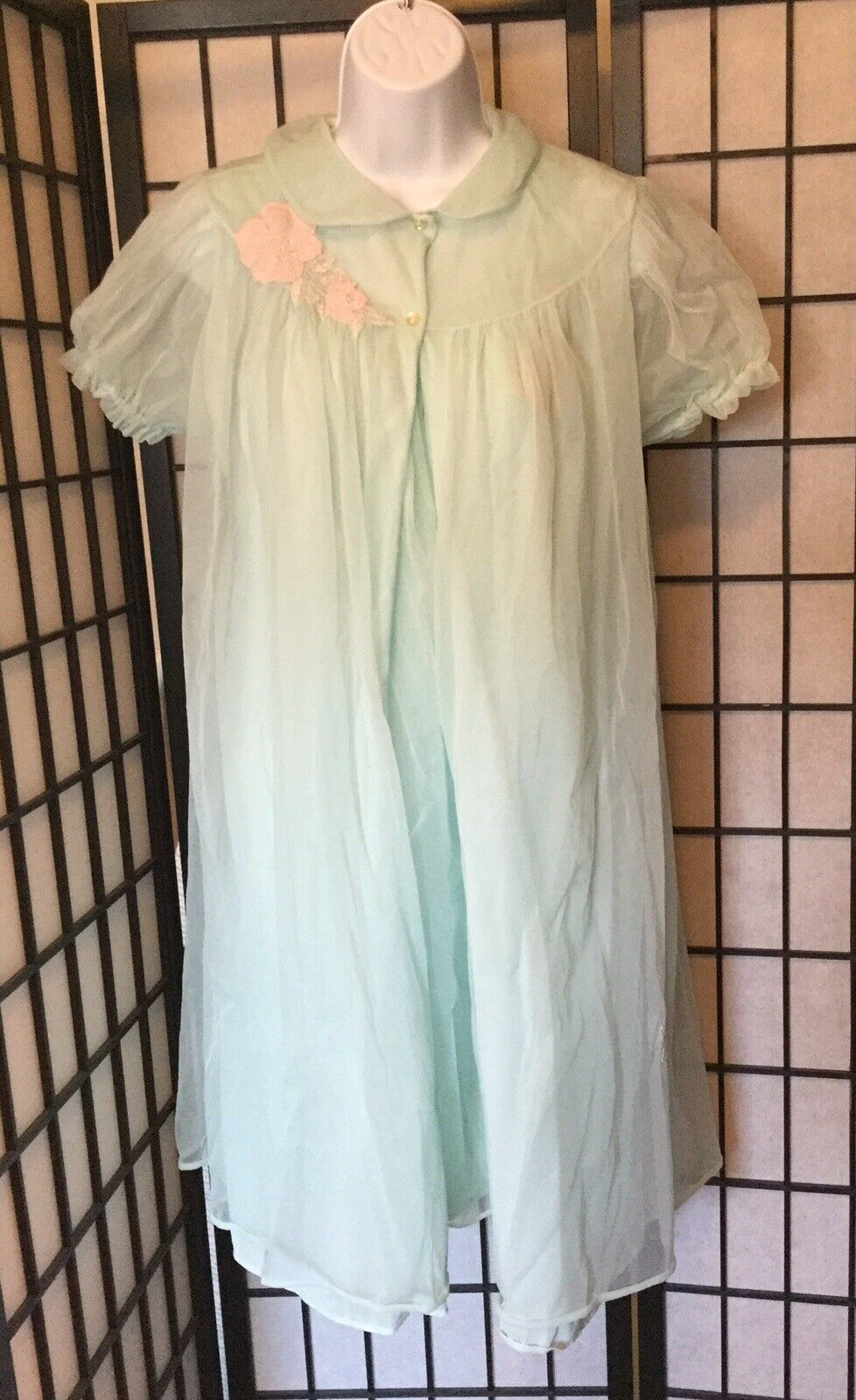 *LORRAINE VINTAGE Mint Chiffon Overlay Night Gown (sm) & House Coat (med)