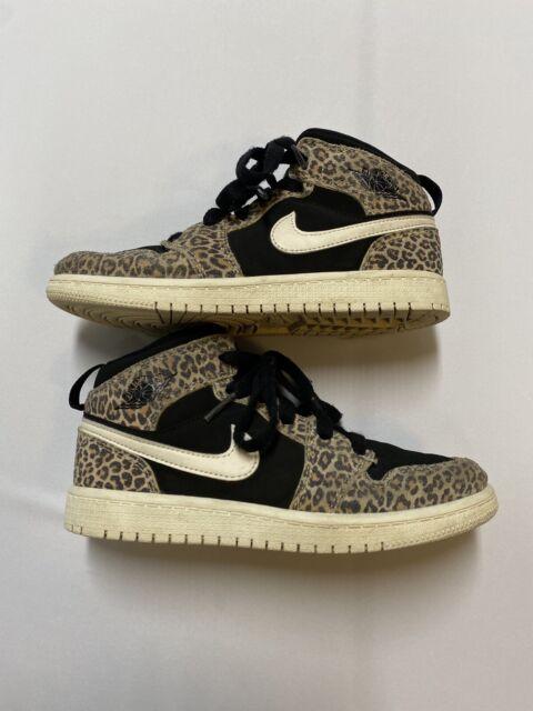 Nike Air Jordan 1 Mid SE Size 1y Leopard Cheetah Print Boys Bq6932 ...