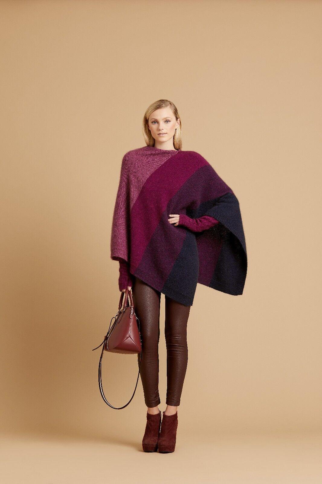 New Zealand Possum Merino Wool Knitwear Ombre Poncho