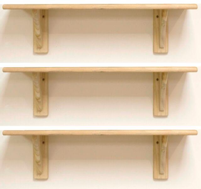 3 x Natural Wood Pine Shelf Kit 585mm Unfinished Storage Shelves Rounded Edge