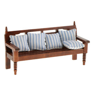 1:12 Dollhouse Miniature Furniture Living Room Garden Bench Couch W//Cushions \