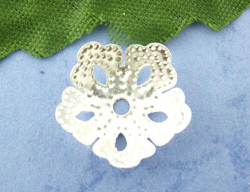 82B 200 Argent Grande Plaque Flower Bead Caps ~ 14 mm ~ Perles ~ Cristal ~ Bracelets UK