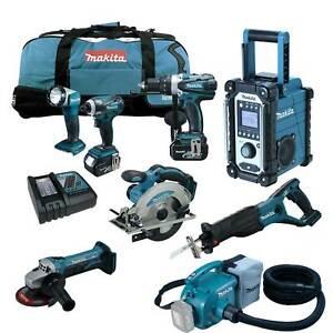 Makita-DVC350-Z-Staubsauger-LXT-18V-Akku-Werkzeug-Set-DMR107-Baustellenradio