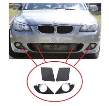 BMW 5 E60 E61 2003-2010 M SPORT FRONT BUMPER LOWER GRILLS + FOG LIGHT COVERS