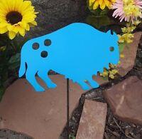 Buffalo Oasis Blue - Southwestern Metal Garden Decor Art W/ Detachable Stake